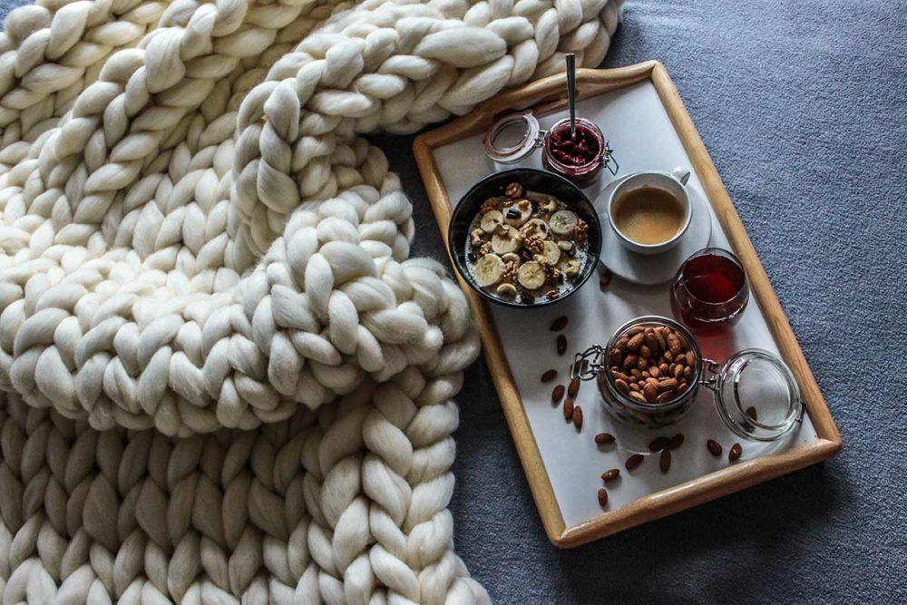 Vintage deka – krémova biela