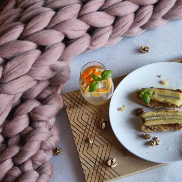 Hebká merino deka v hnedej cappuccino farbe